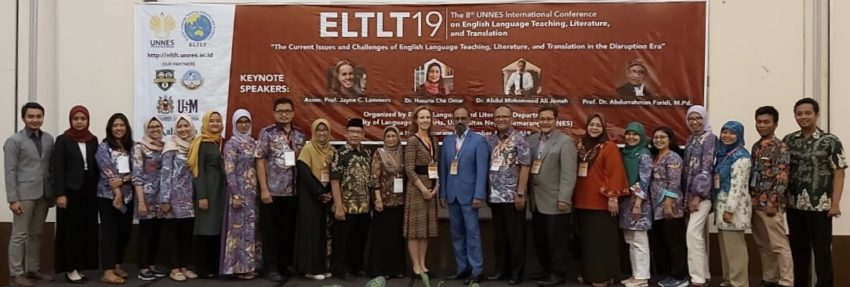 Group photo including the planning committee (faculty in the English department at UNNES) and Saturday's keynote speakers at ELTLT19