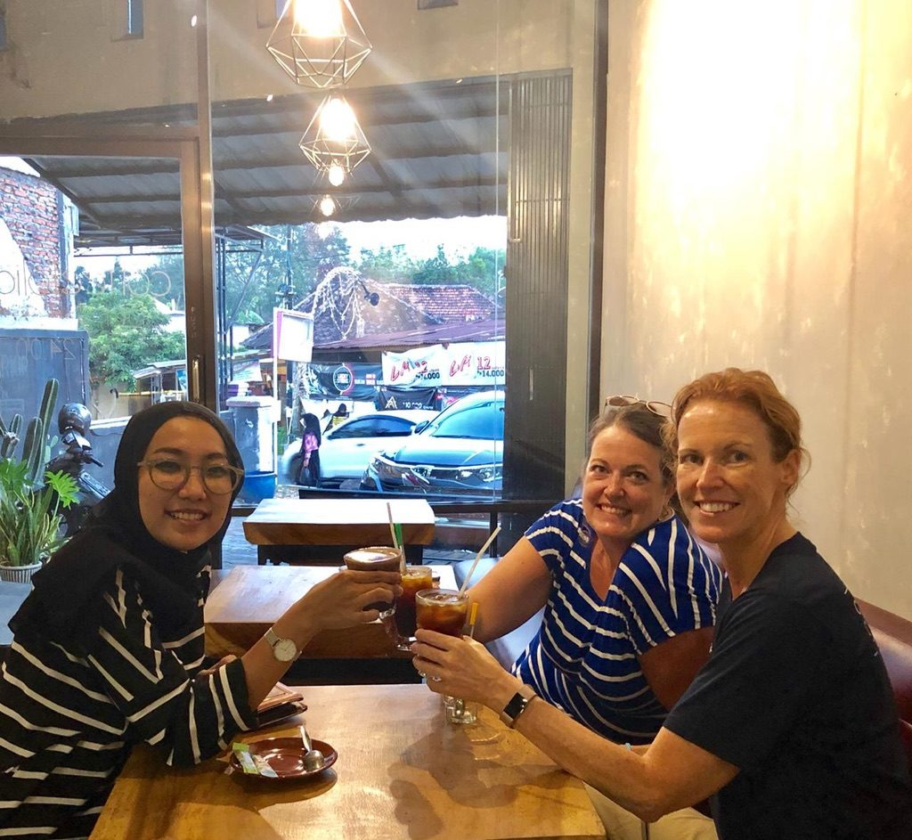 "Lulu, Jill, and Jayne saying ""cheers"" with our post-shopping coffee at Coffee Folia."